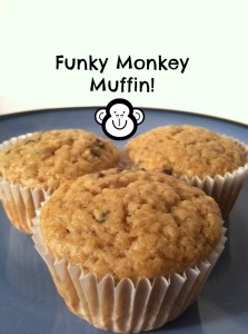 Funky Monkey Muffin! The perfect chocolate chip,peanut butter, and banana muffin for your cool little funky monkey!