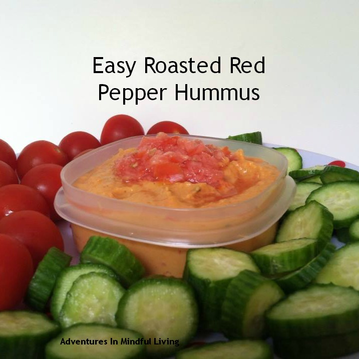 Easy Roasted Red Pepper Hummus! Easy and yummy Snack!!